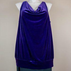 Lane Bryant Tops - Lane Bryant Tank Top Jewel Purple Velour Cowl Neck